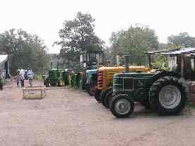 A line-up of tractors, June 2007
